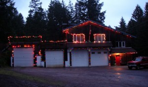 Hornby Island Fire Hall lit up for Christmas