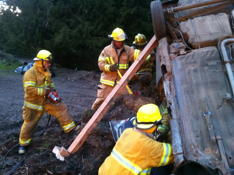 The extrication team working on getting the doors removed.